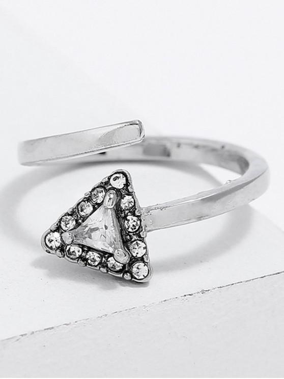 Anel de manguito de dedo de strass forma triângulo - Prata