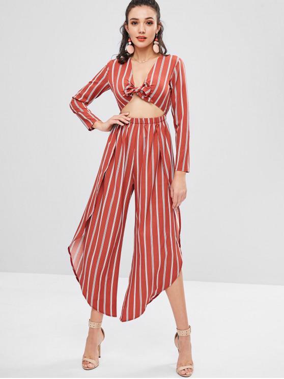 chic Overlap Stripes Tie Front Jumpsuit - CHESTNUT RED M