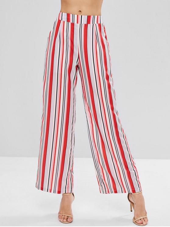 affordable Colorful Striped Wide Leg Palazzo Pants - MULTI M