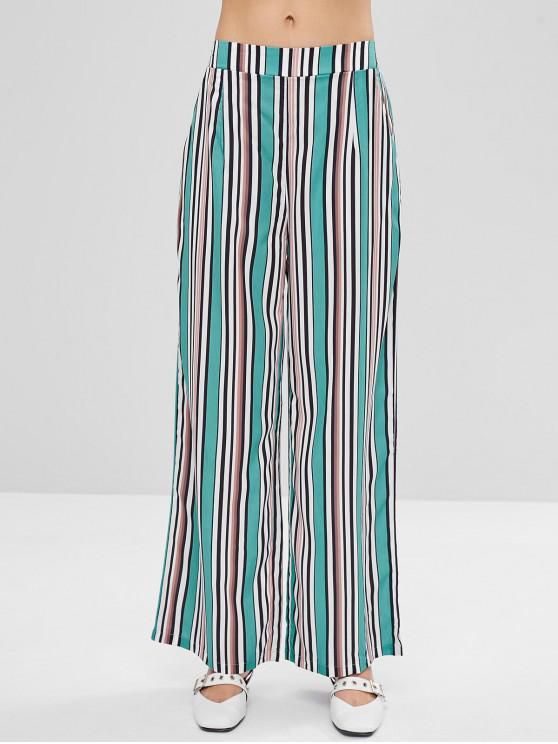 hot Striped Colored Wide Leg Palazzo Pants - MULTI S