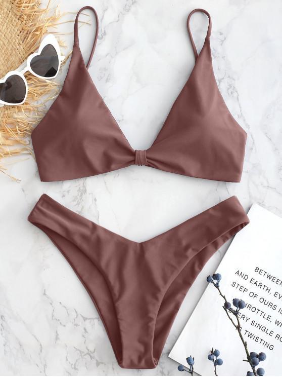 Hohes Bein Knoten Bikini Set - Lippenstift Rosa L