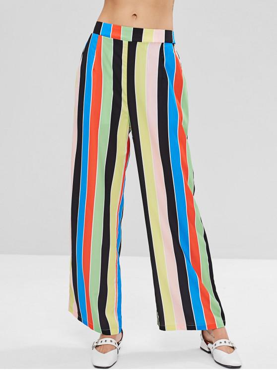 shops Wide Leg High Waisted Palazzo Pants - MULTI L