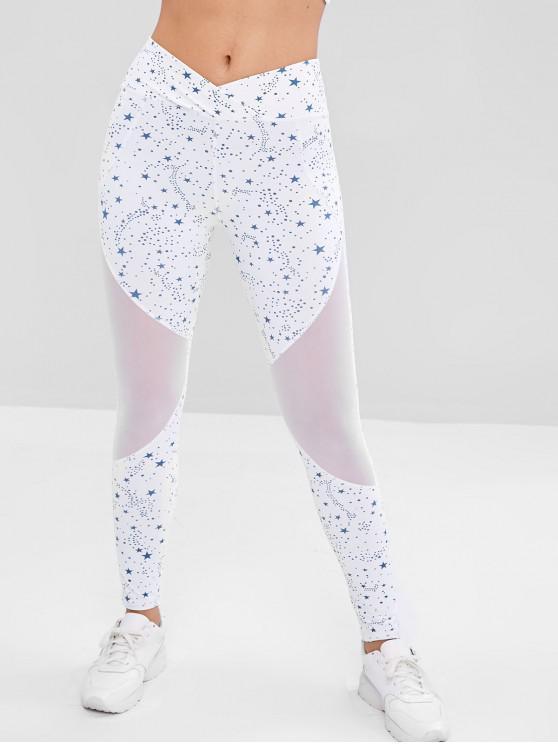 women Star Mesh Insert Sports Leggings - WHITE S