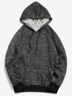 Textured Raglan Sleeve Pocket Fleece Hoodie - Carbon Gray M
