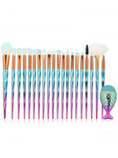 20Pcs Zircon Pattern Ultra Soft Foundation Eyeshadow Eyebrow Blush Powder Brush Set - Blue Zircon