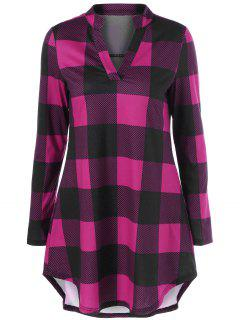 Split Neck Long Plaid Boyfriend T-Shirt - Violet Rose M