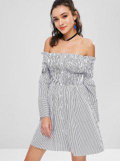 Gerafftes Gestreiftes Schulterfreies Kleid - Weiß L