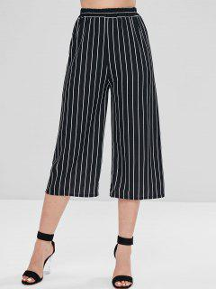 Striped Wide Leg Gaucho Pants - Black Xl