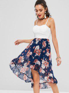 Floral Padded High Low Cocktail Dress - Cadetblue M