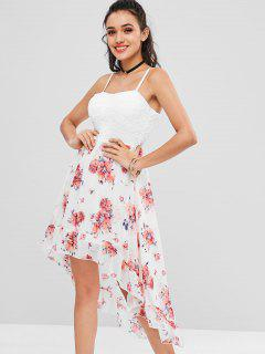 Floral Padded High Low Cocktail Dress - White L