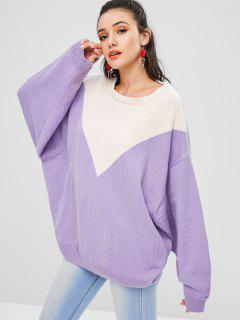 Color Block Batwing Sleeve Sweater - Crocus Purple