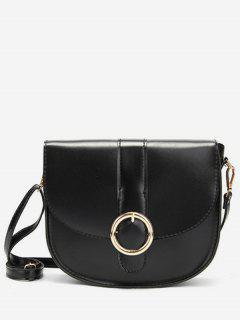 Retro Metal Buckled Sling Bag - Black