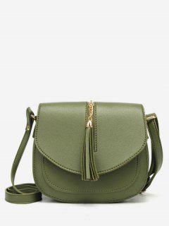 Solid Tassel Chain Chic Flap Crossbody Bag - Green