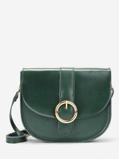 Retro Metal Buckled Sling Bag - Green