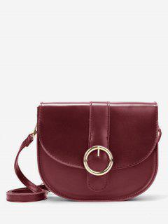 Retro Metal Buckled Sling Bag - Red Wine