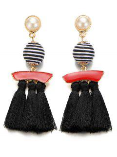 Artificial Pearl Striped Ball Tassel Drop Earrings - Black