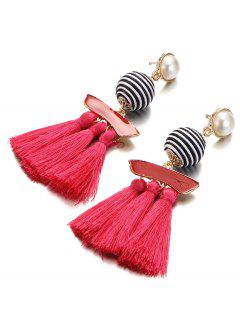 Artificial Pearl Striped Ball Tassel Drop Earrings - Red