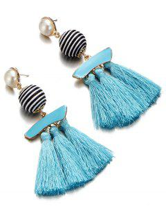 Artificial Pearl Striped Ball Tassel Drop Earrings - Day Sky Blue