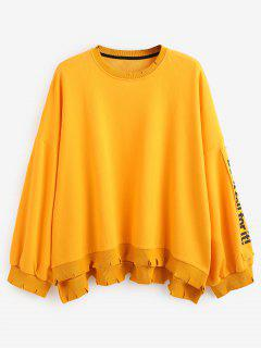 Side Letter Patchwork Oversized Pullover Sweatshirt - Yellow L