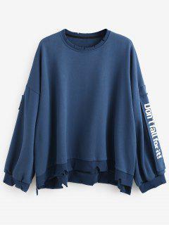 Side Letter Patchwork Oversized Pullover Sweatshirt - Blue M