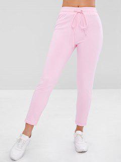 Drawstring Running Yoga Pants - Pink S
