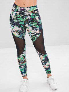 Leaf Mesh Insert Sports Leggings - Forest Green S