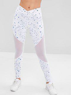 Star Mesh Insert Sports Leggings - White M