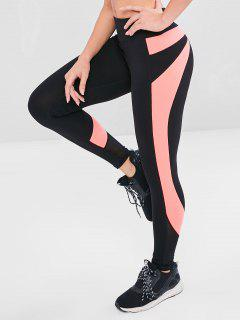 Mesh Insert Color Block Gym Leggings - Black L