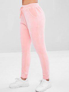 Velvet Drawstring Pocket Pants - Pink S
