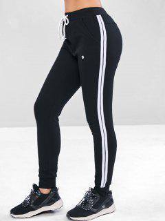 Pantalones De Bolsillo Con Cordón A Rayas - Negro M
