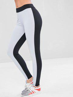 High Waisted Two Tone Gym Leggings - Multi L