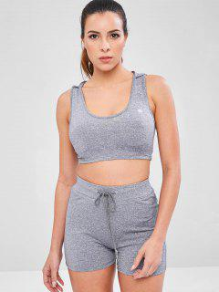 Heather Hooded Shorts Set - Gray M