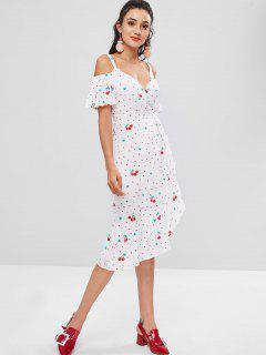 Cherry Print Cold Shoulder Wrap Dress - White