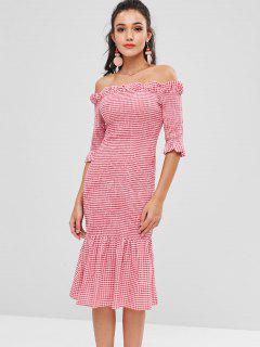 Smocked Gingham Midi Off The Shoulder Dress - Rose Red L