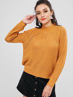 Hollow Out High Neck Raglan Sleeve Sweater - School Bus Yellow M
