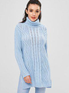 Turtleneck High Low Slit Sweater - Light Blue M