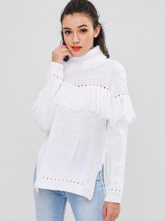 Tassel High Low Longline Sweater - White L