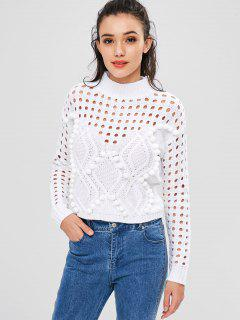 Pom Ball Hollow Out Sweater - White S
