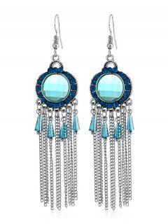 Bohemian Rhinestone Fringe Fish Hook Earrings - Light Blue
