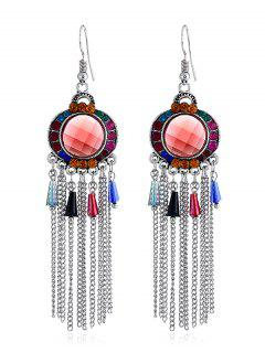 Bohemian Rhinestone Fringe Fish Hook Earrings - Multi