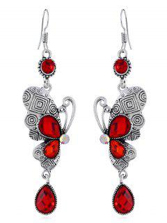 Retro Rhinestone Butterfly Hook Earrings - Red