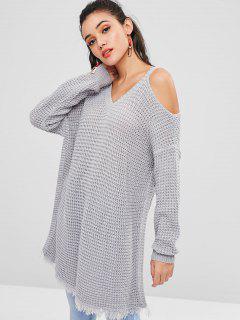 Durchbrochen Fransen Kalte Schulter Sweater - Hellgrau S