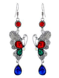 Retro Rhinestone Butterfly Hook Earrings - Multi