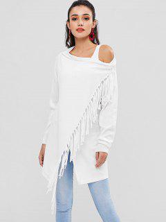 Asymmetrical Tassel Cardigan - White L