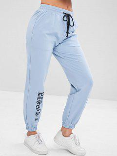 Sports Drawstring Sweat Jogging Pants - Baby Blue M