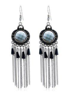 Bohemian Rhinestone Fringe Fish Hook Earrings - Black