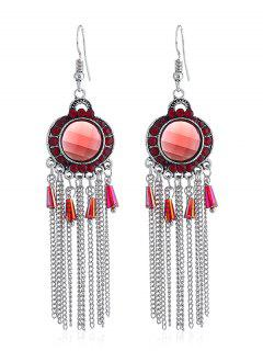 Bohemian Rhinestone Fringe Fish Hook Earrings - Red
