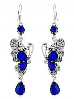 Retro Rhinestone Butterfly Hook Earrings - Royal Blue