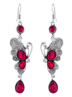 Retro Rhinestone Butterfly Hook Earrings - Rose Red