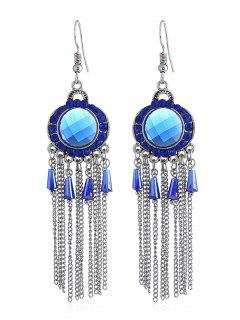 Bohemian Rhinestone Fringe Fish Hook Earrings - Royal Blue